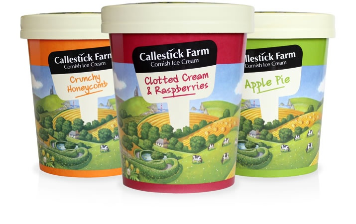 Ice Cream tubs showing great illustrations to show provenance of ice cream