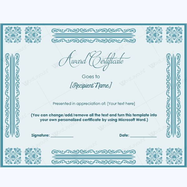 99 best Award Certificate Templates images on Pinterest Award - microsoft word award certificate template