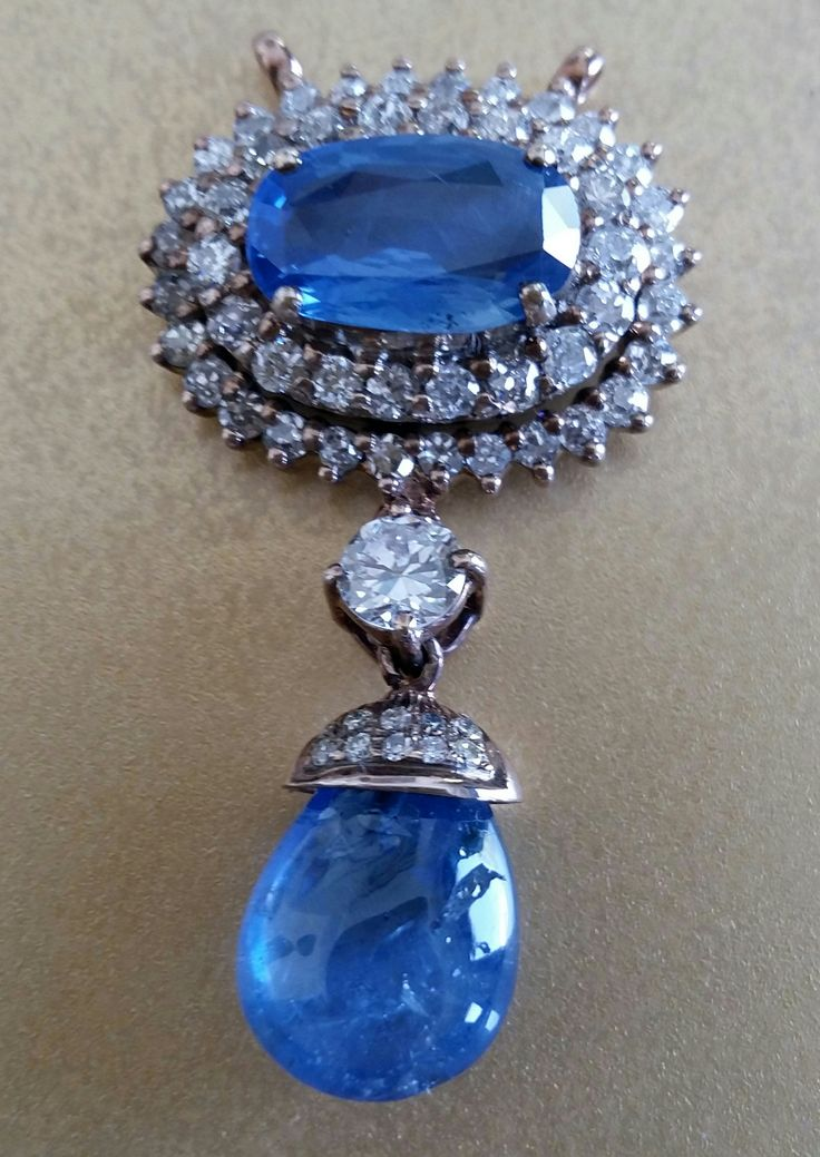 Blue Ceylon Sapphire and Diamond Pendant. www.gutgalgems.com