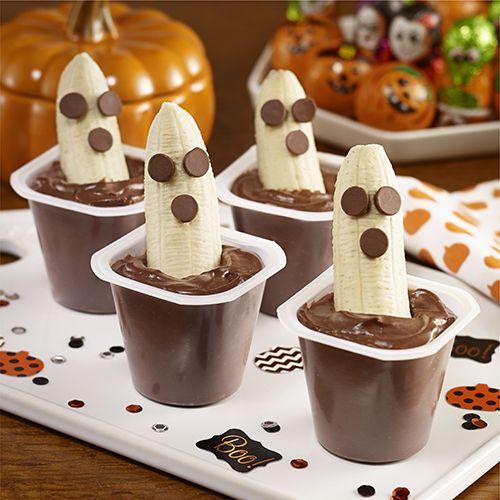 Schokoladen-Pudding und Bananen