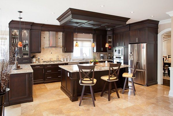 Giallo Ornamental granite kitchen countertops dark brown kitchen cabinets