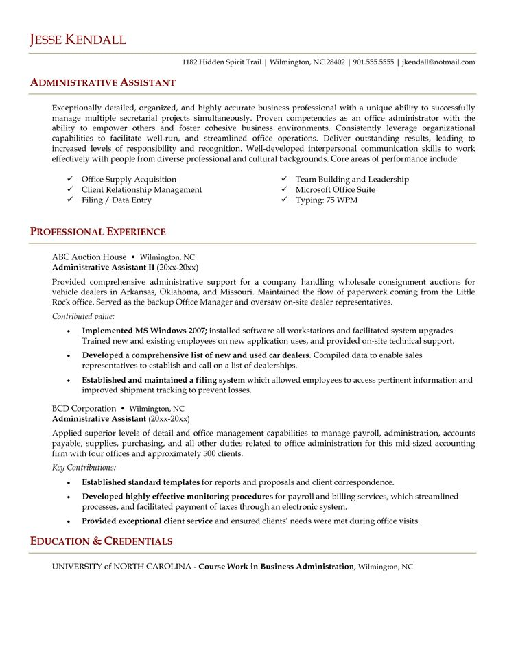 Example Resume Administrative Assistant Resume Template For