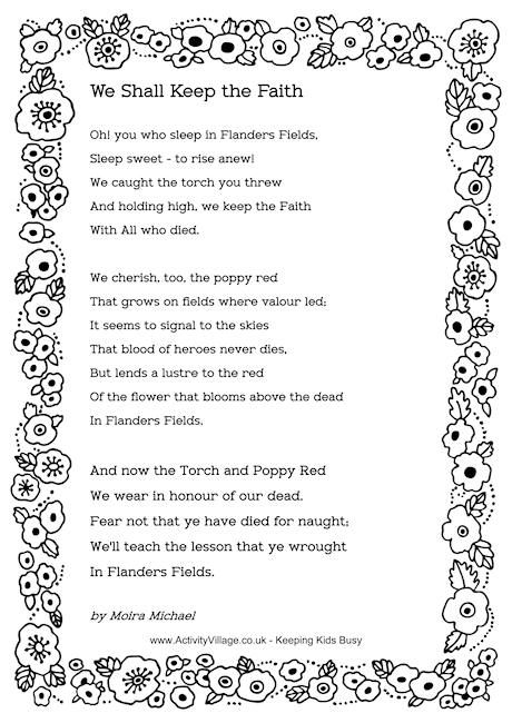 We Shall Keep the Faith - a Remembrance Day poem.