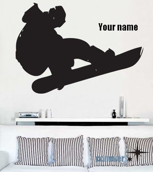 BIG Snowboard Extreme Sports player name----Removable Graphic Art wall decals stickers ...