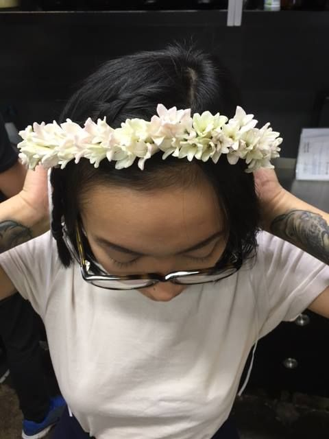 Flower pixie Jacquline modelling a super sweet flower crown! ‪#‎studiofun‬