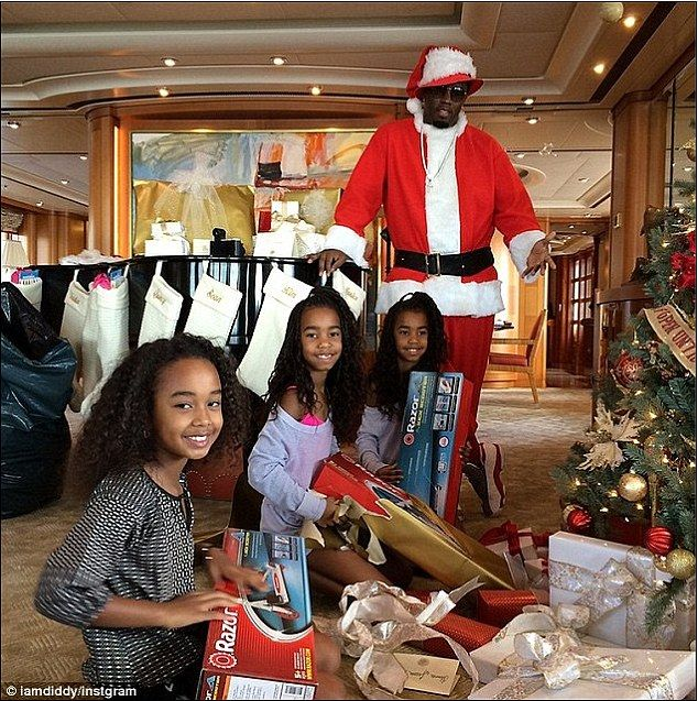 Return of the Diddy man: He gave his girls a jolly surprise last year when he dressed up as 'black Santa'