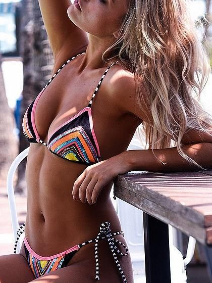 9d036f1d22787 Multicolor Halter Geometric Print Bikini Top And Bottom – risechic.com
