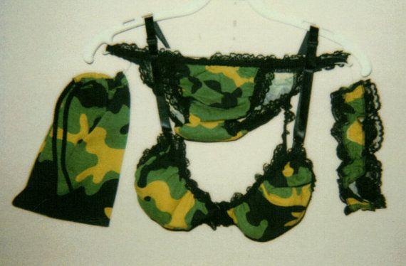 New Tractor Camo woman lace trim bra panty garter bag by HSEMASKA