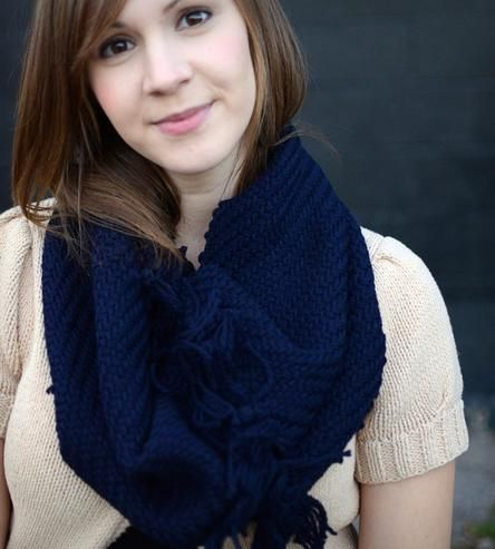 Navy Blue Cotton Cowl Scarf  by Shutters & Shuttles on Scoutmob Shoppe