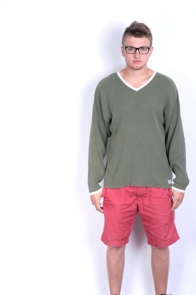 Levi's Mens XXL Jumper Sweater Green Cotton Vintage - RetrospectClothes