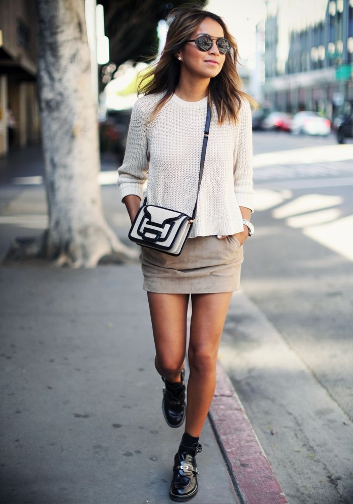 white #knitted #sweater, beige mini skirt, black shoes, sunglasses. Street summer #women fashion outfit clothing style apparel @roressclothes closet ideas