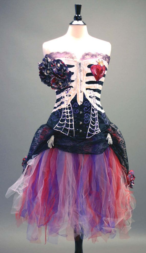 Day of the Dead Costume- Black Steelboned Corset, Tulle Skirt With Lace Skirt, and Accessories on Etsy, $275.00
