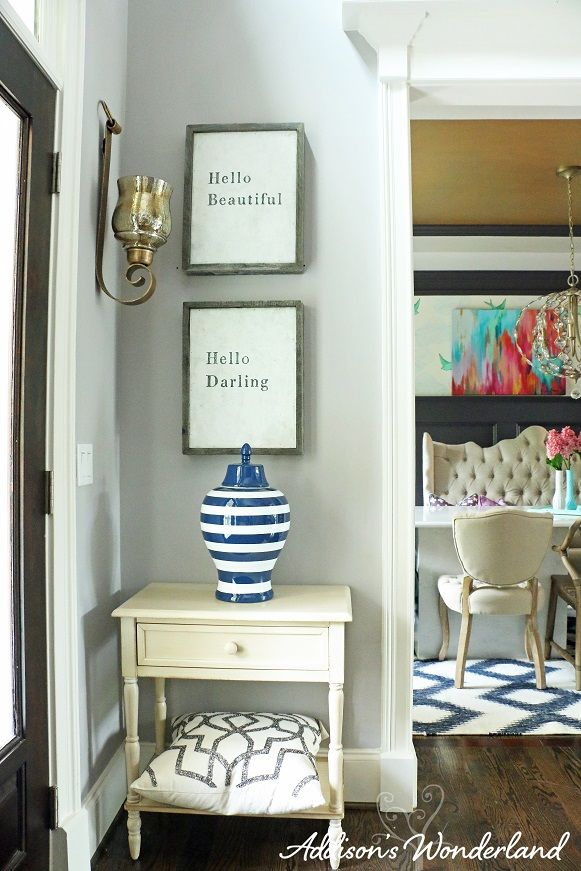 Fun Home Decor Ideas diy home decoration ideas for valentines day easy to make home decor crafts for valentines Create A Stunning Entryway With A Fun Accent Wall And Console Table Vase Pillow
