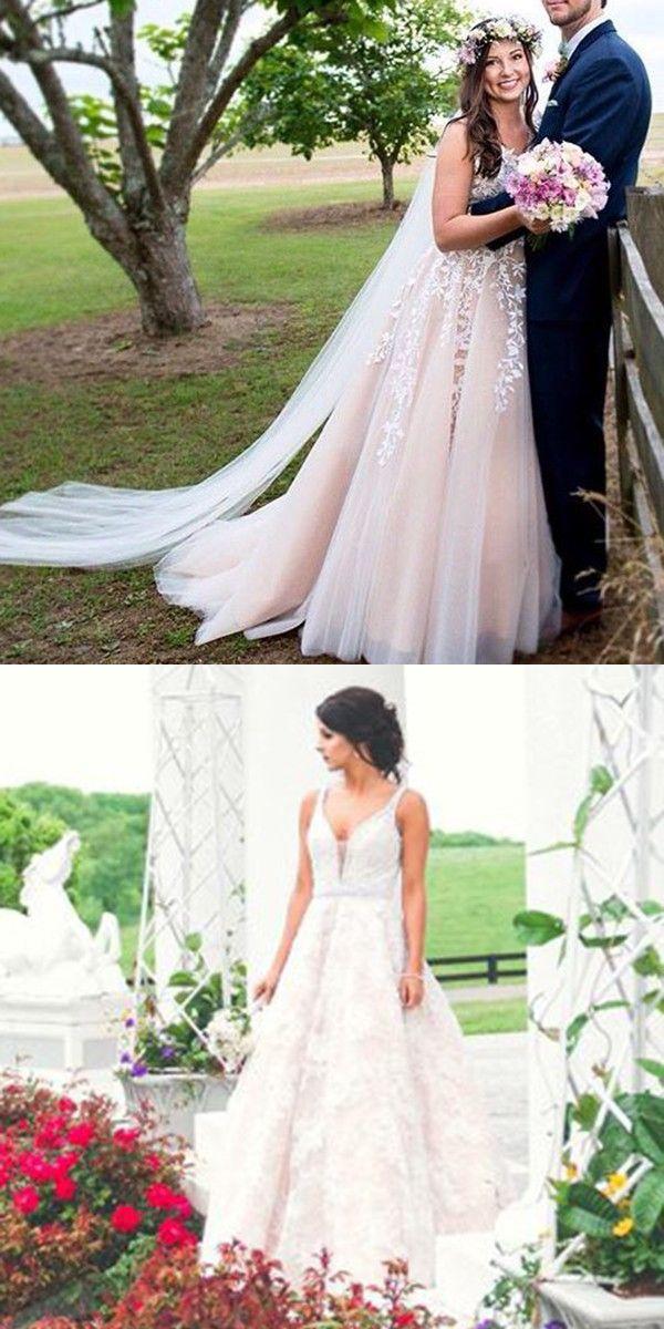 V-Neck Wedding Dresses,Pearl Pink Wedding Dresses,Beading Wedding Dresses,Cheap Wedding Dresses,Plus Size Wedding Dresses,Wedding Dresses 2017