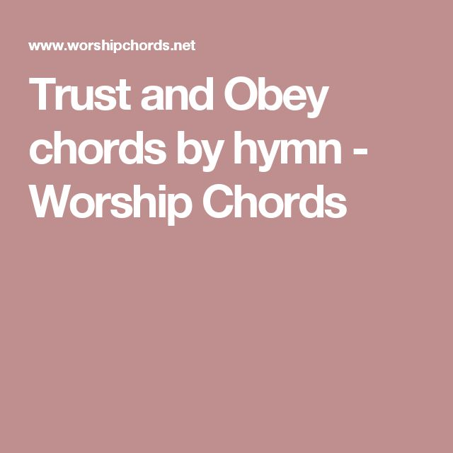trust and obey chords pdf