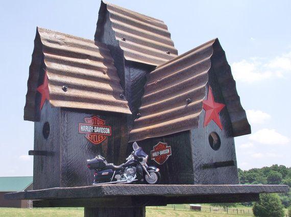 Harley Davidson Bird House Large Outdoor Black Bird House