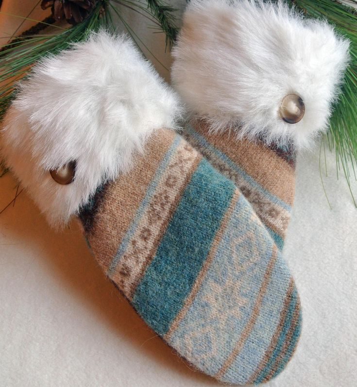 WOMENS Recycled Sweater Wool MITTENS White Fur Cuff Tan Blue White. $30.00, via Etsy.