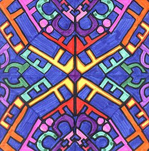 """NAME SYMMETRY- started with a square of 8 1/2"""" paper, folded into triangles- visit website for more information"""