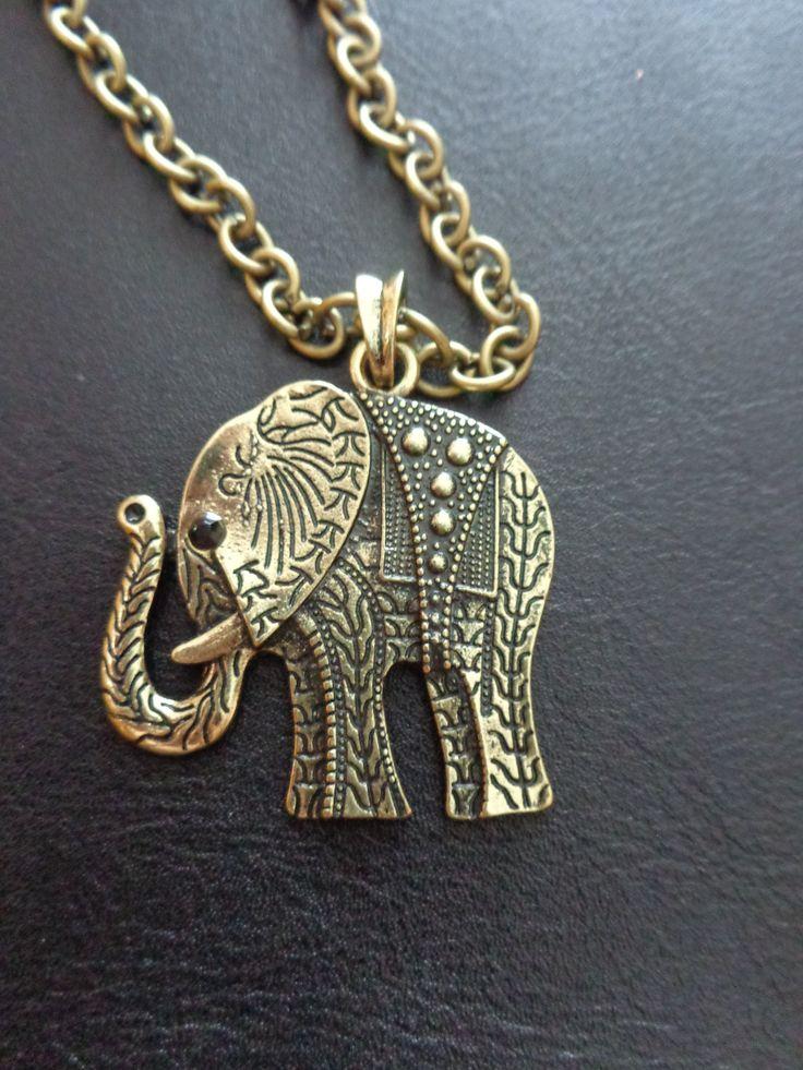 Colar de corrente bronze com pendente elefante, médio, com strass