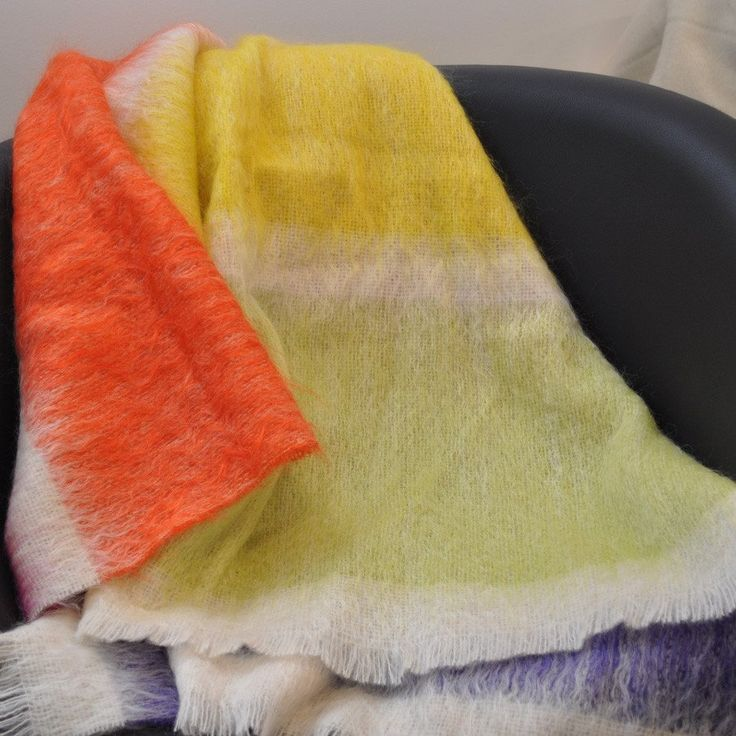 Mohair Wool Throw, Rainbow Prism by Paulette Rollo
