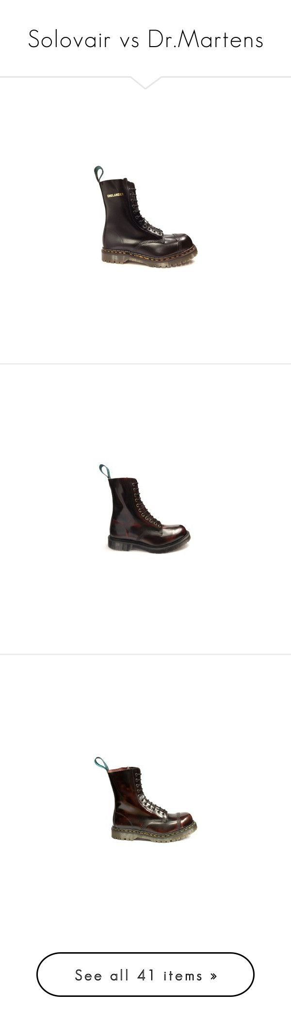 """Solovair vs Dr.Martens"" by lorika-borika on Polyvore featuring shoes, boots, safety toe caps, black shoes, real leather boots, steel toe cap boots, black leather shoes, eyelets shoes, burgundy leather shoes и genuine leather boots"