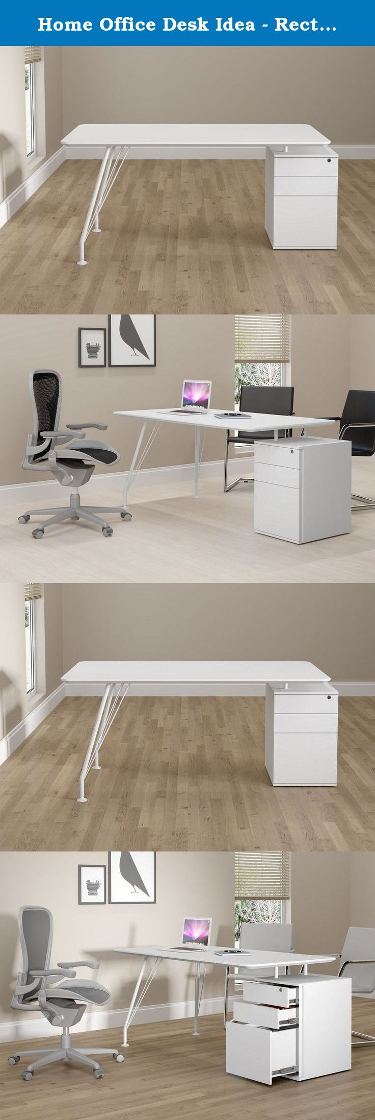 Home Office Desk Idea - Rectangular with Drawer Cabinet, White. Simplicity is the word that defines the Idea furniture line. A set of solutions designed to meet business needs on a daily basis. Functionality and flexibility are combined with the sleekness, harmony and good taste of its forms. Its fresh innovative design provides not only an easy practical approach but also aesthetic and efficient features to contemporary domestic and corporate spaces. Rectangular desks with 2 legs and 25mm...