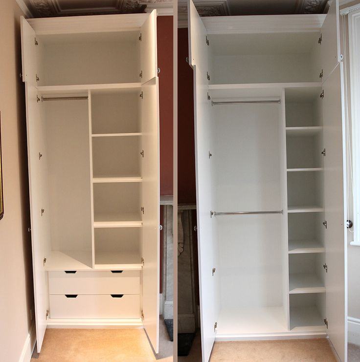 Interior layout of the shaker beaded wardrobes fitted in Putney SW15