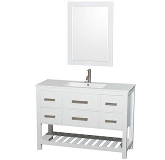 Pics Of Natalie inch Single Bathroom Vanity in White Finish White Porcelain Countertop Integrated Sink inch Mirror