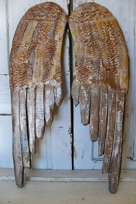 Bronze rusty wings large wood carved wall sculpture metal