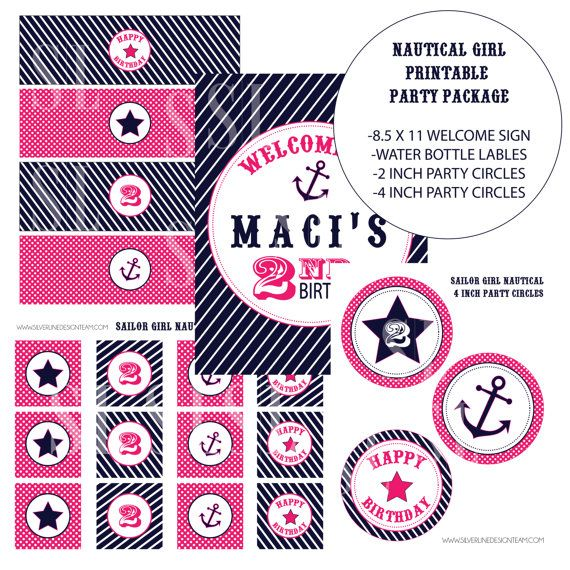 Sailor Girl Nautical Birthday PARTY PACKAGE by SLDESIGNTEAM, $22.00