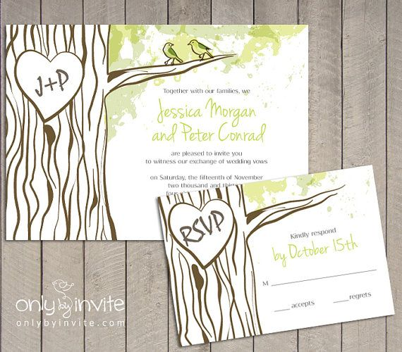 Oak Tree Trunk Heart Forest Printable Wedding Invitation