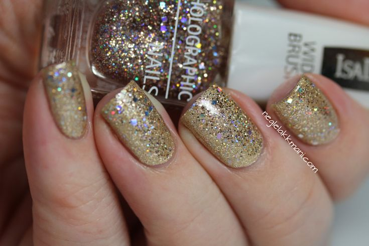 OPI Love.Angel.Music.Baby & IsaDora Holographic Nails Jet Setter