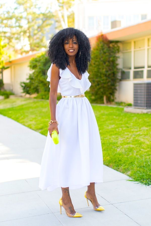 white spring dress and yellow accessories