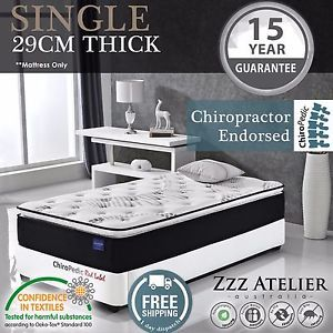 SINGLE Mattress 5 Zone Pocket Spring Mattress - Latex Pillow Top *Chiro Endorsed