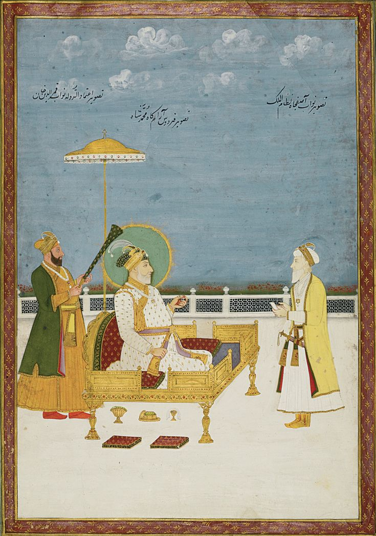 Muhammad Shah enthroned with Nawab Qamar al-Din 'Itimad al-Dawla and Nawab Asafjah Nizam al-Mulk in attendance, Deccan, Hyderabad, late 18th century gouache with gold on paper, inscriptions of identification in back on painted surface on upper border and on reverse, inner red borders with gold floral motifs, outer green borders painting: 34.2 by 23.2cm. leaf: 41.6 by 26.6cm.