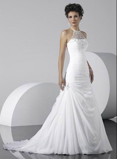 Wholesale Cheap Popular White Halter Beads Working Mermaid Chiffon Satin Chapel Train Wedding Dress for Brides