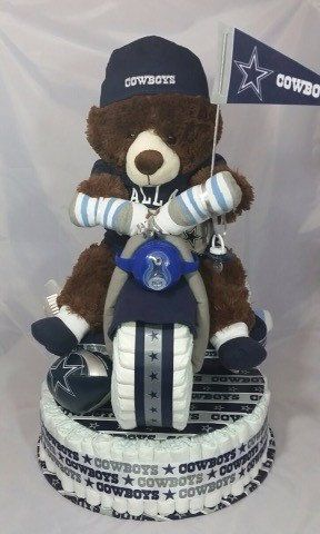 Football Diaper Cake Dallas Cowboys Outfit by BabyLuvsCakes