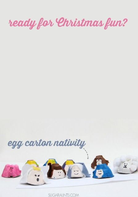 Sugar Aunts: Away In A Manger Christmas Carol Sensory Bin (with Egg Cartons!)