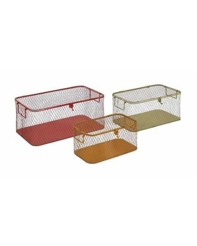 Metal Mesh Storage Boxes With Metal Handles And Latch In Assorted Colors    In Three Different
