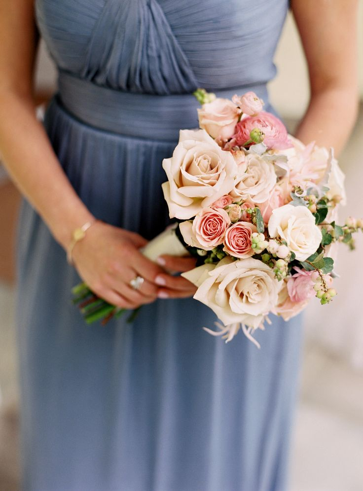 Bridesmaids Bouquet - love the blush and pink against the bridesmaids gown | See the wedding on SMP: http://www.StyleMePretty.com/tri-state-weddings/2014/02/24/traditional-elegant-wedding-in-darien/Charlotte Jenks Lewis