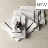 Velvet Trim Linen Napkins - Set of 4 £40