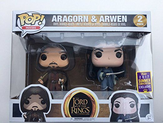 Funko POP! SDCC 2017 Summer Convention Exclusive The Lord of The Rings - Aragorn & Arwen Vinyl Bobble Heads