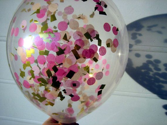 Confetti Filled Balloons, Peach, Pink and Gold, Confetti Balloons, 1st Birthday, Photo Prop, Bridal Shower, Baby Shower, Hot Pink, Wedding on Etsy, ¥531.91