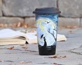 Black Ceramic Travel Mug - Made to Order - Porcelain Eco Cup - Black Silicon Lid - Romantic Gift for her - Full Moon Art - Halloween gift