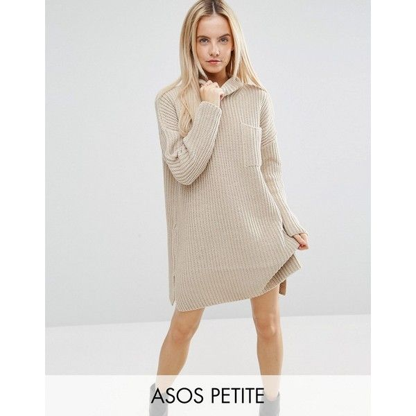 ASOS PETITE Swing Dress in Rib Knit with Top Pocket (65 CAD) ❤ liked on Polyvore featuring dresses, beige, petite, high neck long sleeve dress, long sleeve dress, long sleeve short dress, petite dresses and mini dress