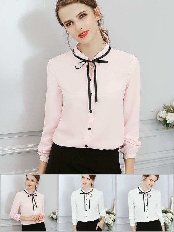 172df9b73bfe New Spring Autumn Tops Office Ladies Blouse Fashion Long Sleeve Bow Slim  White Shirt Female Cute