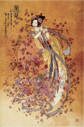 Benzaiten (弁才天, 弁財天) is the Japanese name for the Hindu goddess Saraswati. The goddess of everything that flows: water, words, speech, eloquence, music and by extension, knowledge