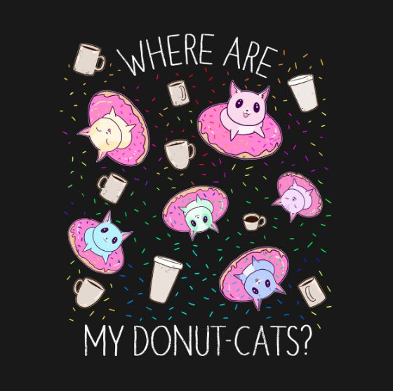 Funny cute adorable cats floating on pink and purple ...