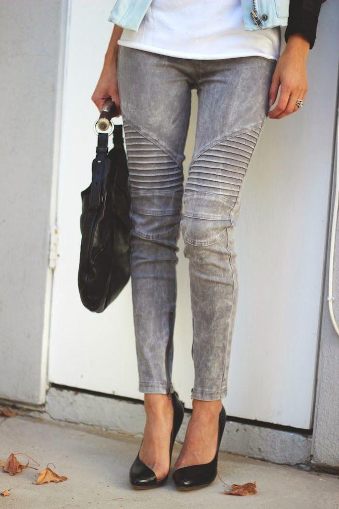 Gray Moto Skinny Jeans