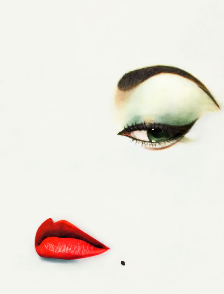 """Erwin Blumenfeld shot """"The Look"""" for Vogue in 1950. The work shows the model Jean Patchett reduced to a flat white background with a perfect pair of lips, a beauty spot and one eye highlighted by a single flick of eyeliner."""